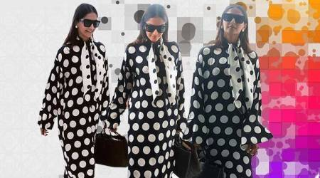 Sonam Kapoor, Sonam Kapoor Cannes arrival, Sonam Kapoor Mother of Pearl, Sonam Kapoor fashion, Sonam Kapoor latest photos, Sonam Kapoor Cannes outfits, indian express, indian express news