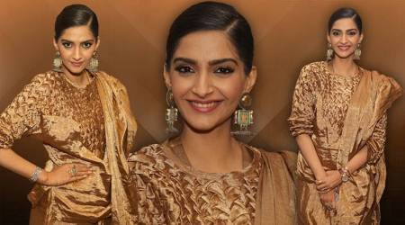'Veere Di Wedding' promotions: Sonam Kapoor teams her gold sari with a smock jumper; we can't stop staring