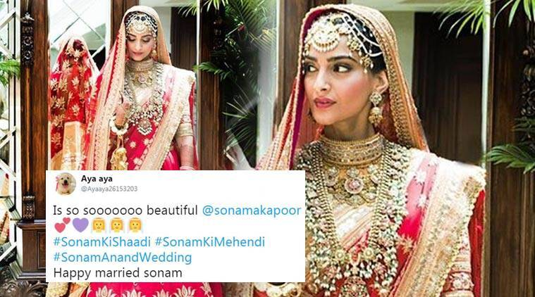 sonam kapoor, sonam kapoor wedding, sonam kapoor anand ahuja wedding, sonam kapoor bride look, sonam kapoor bridal look, twitter reactions, indian express, indian express news