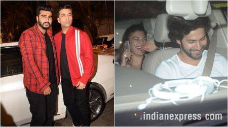 karan johar and arjun kapoor were spotted at anil kapoor's residence