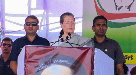 Karnataka Assembly Elections 2018: UPA chairperson Sonia Gandhi at a rally in Vijaypura on Tuesday.