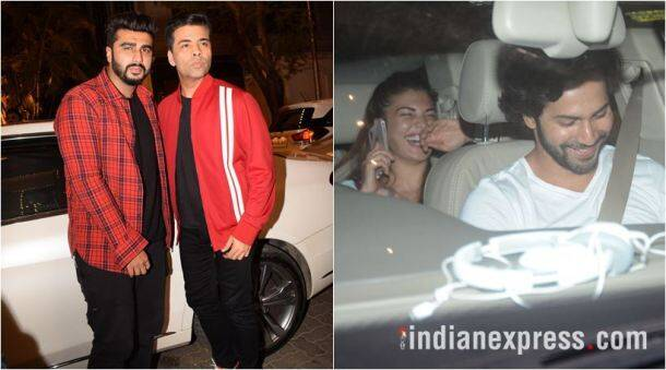 varun dhawan, arjun kapoor and karan johar at anil kapoor's house