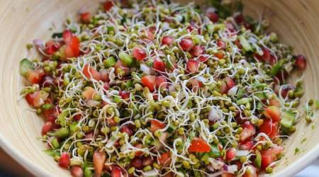 express recipe, Sprouted Moong Dal Salad, Sprouted Moong Dal Salad recipe, sprout recipes, salad recipes, Recipe of Sprouted Moong Dal Salad, indian express, indian express news