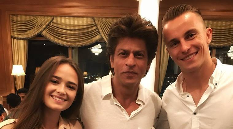 KKR's Shah Rukh Khan with Tom Curran