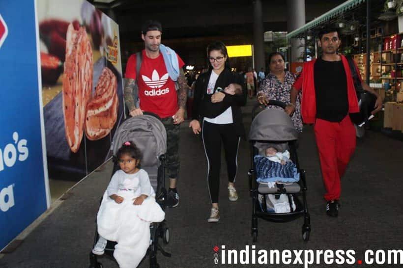 Sunny Leone family at Mumbai airport