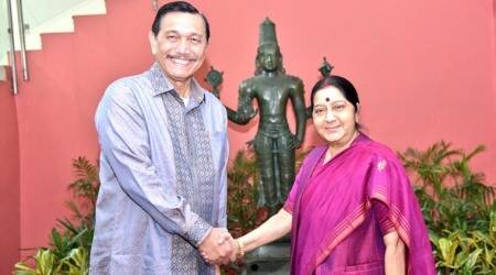 Sushma Swaraj holds talks with Indonesia's maritime affairs minister