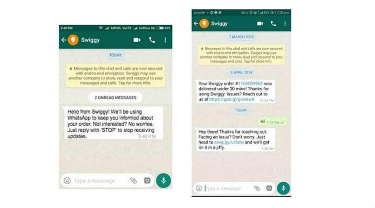 Swiggy, Swiggy WhatsApp, WhatsApp alerts, Swiggy WhatsApp alerts, Swiggy on WhatsApp, WhatsApp enterprise
