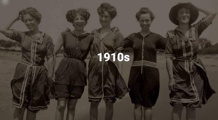 swimsuit evolution, bikini evolution, beach wear history, bikini history, first bikini, beach laws, women fashion history, women fashion evolution, swimsuit history, indian express, indian express news