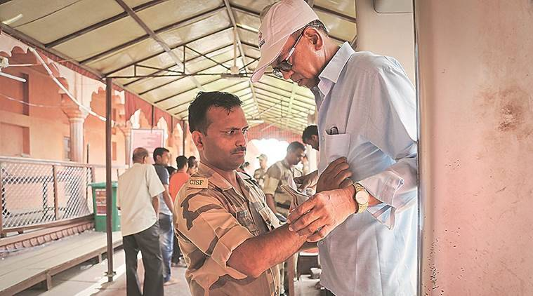 CISF: 275   CISF members are responsible for frisking and checking bags at the East and the West gates. They also manage the crowd inside the Taj's premises and at the main mausoleum. (Express photo/Abhinav Saha)