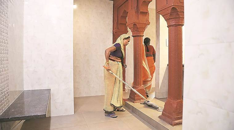 Sulabh toilets: 7 | The NGO Sulabh International and the ASI signed an MoU for setting up of two toilets each on the East and West side of the inner court of the Taj's premises. A seven-member team looks after the four toilets. (Express photo/Abhinav Saha)