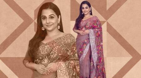 Vidya Balan fails to hit the mark in this embellished Manish Malhotra sari