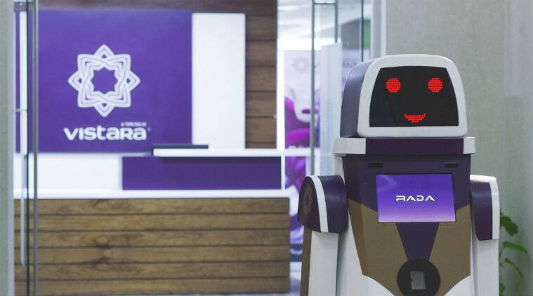 Vistara, Vistara RADA robot, artificial intelligence, AI customer support robot, AI based RADA, IGI Airport, RADA design, Vistara services, Tata Sons, Singapore Airlines