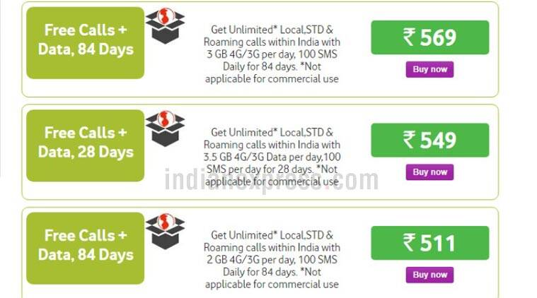 Vodafone Rs 511, Rs 569 recharge packs offer 84 days validity, up to