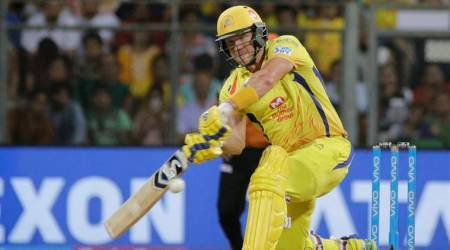 Chennai Super King's player Shane Watson bats against Sunrisers Hyderabad during VIVO IPL cricket T20 final match in Mumbai, India