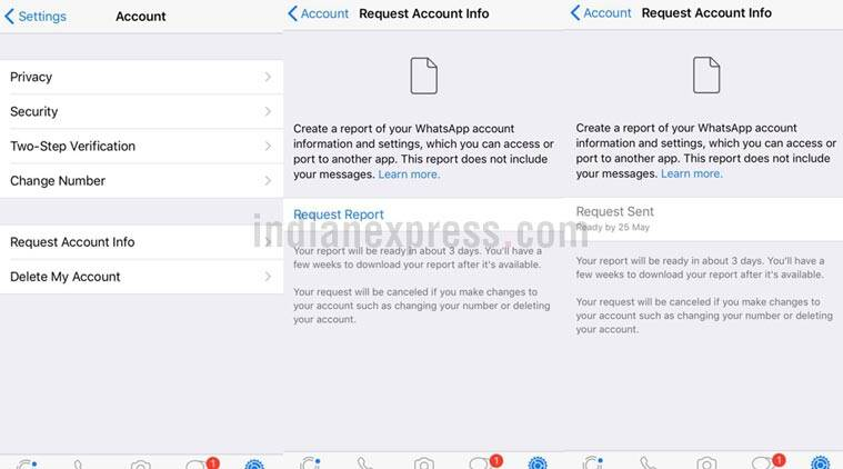 WhatsApp iOS update adds 'Request Account Info' feature for