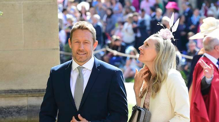Jonny Wilkinson and Shelley Jenkins  arrive for the royal wedding