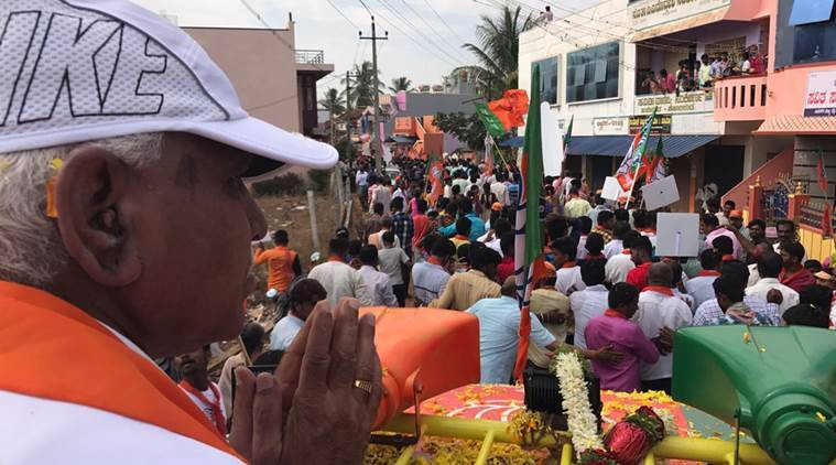 BJP's chief ministerial candidate BSY Yeddyurappa during a roadshow in his constituency of Shikaripura, Karnataka, on Thursday. (Express photo/Aaron Pereira)