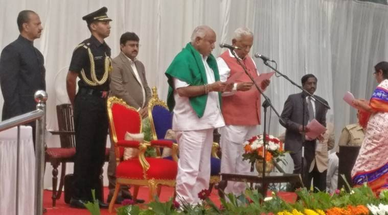 B S Yeddyurappa took oath as Karnataka CM on Thursday. (Express photo/Johnson Abraham)