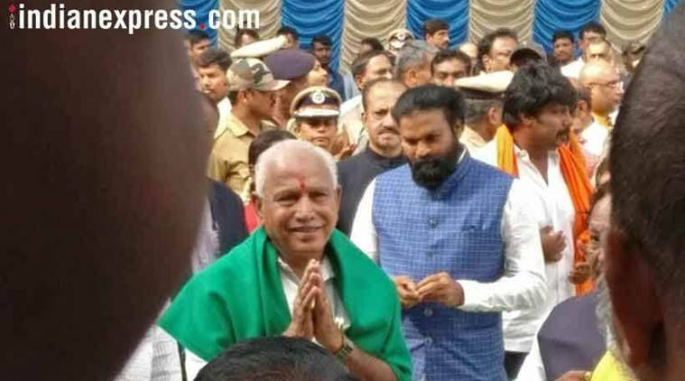 BS Yeddyurappa takes oath as Karnataka CM, Congress protests outside Raj Bhawan