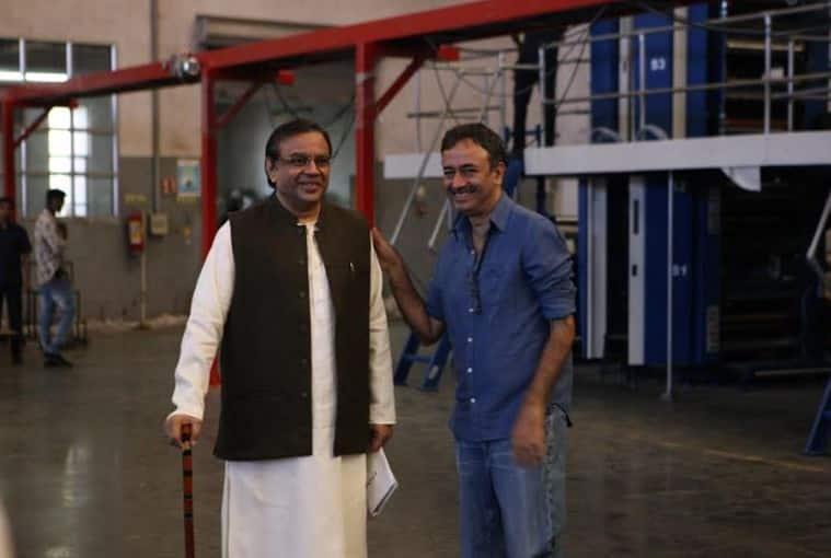Paresh Rawal with Rajkumar Hirani while shooting for Sanju