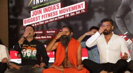 Baba ramdev, missionfitindia, patanjali, grand master shifuji, fever fm, my fm, rj stuti, ftc, fit india, fitness challenge, indian express, indian express news