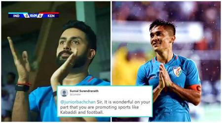 Abhishek Bachchan turns up to watch Sunil Chhetri's football match; Twitterati 'salute' the star