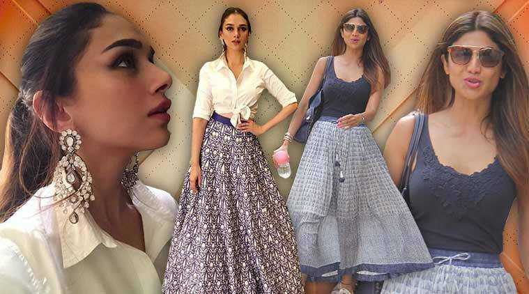 Aditi Rao Hydari, Aditi Rao Hydari fashion, Aditi Rao Hydari skirts, Aditi Rao Hydari Ridhi Mehra, Shilpa Shetty Kundra, Shilpa Shetty Kundra fashion, Shilpa Shetty Kundra skirts, summer skirts fashion, indian express, indian express news
