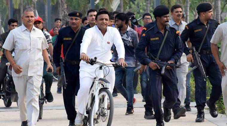 Samajwadi Party chief Akhilesh Yadav went straight to the Gomti River Front, a dream project of his tenure, which now stands stalled. (Express photo/Vishal Srivastava)
