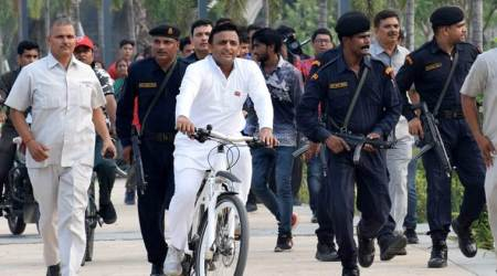 Samajwadi Party chief Akhilesh Yadav went straight to the Gomti Rover Front, a dream project of his tenure, which now stands stalled. (Express photo/Vishal Srivastava)