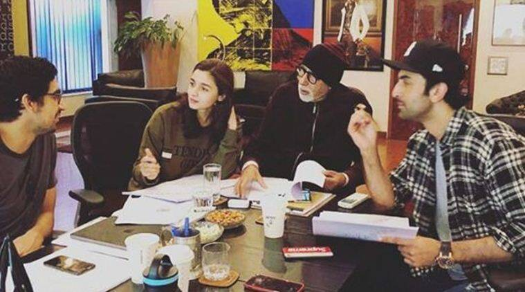 alia bhatt, ranbir kapoor, amitabh bachchan on the sets of brahmastra