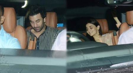 Alia Bhatt and Ranbir Kapoor arrive together for Sanju screening