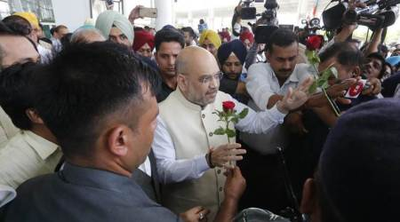 BJP's grand welcome for Amit Shah inChandigarh