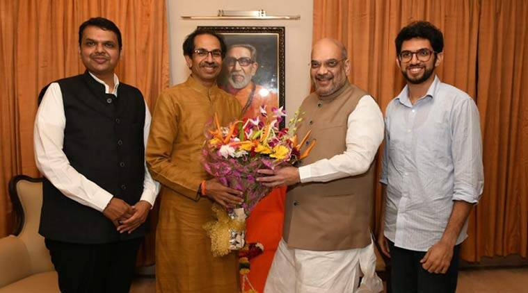 amit shah, uddhav thackeray, bjp, shiv sena, bjp shiv sena, 50 50 seat sharing, maharashtra seat sharing, maharashtra assembly polls, indian express