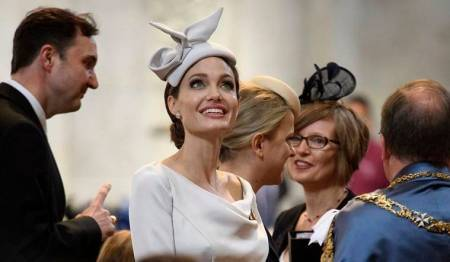 Angelina Jolie exudes royalty in a stunning Ralph and Russo dress; see pics