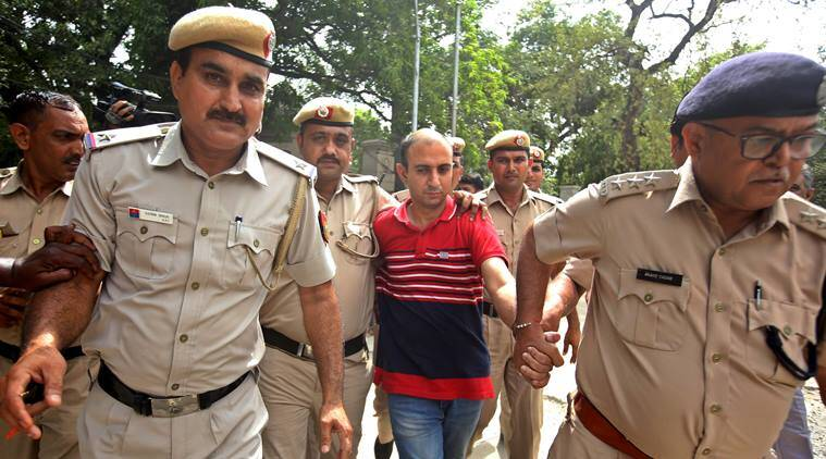 Major Nikhil Rai Handa was produced before a Delhi court on Monday. (Express photo)