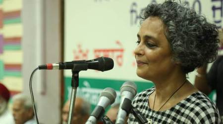 Indian writer Arundhati Roy at the event on Saturday. (Express photo)