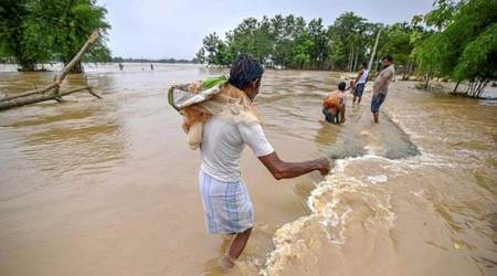 Assam Floods, Assam Floods News, Assam Floods Relief, Bihar Floods, Bihar Floods News, Assam and Bihar floods 2019, Congress News, Indian Express