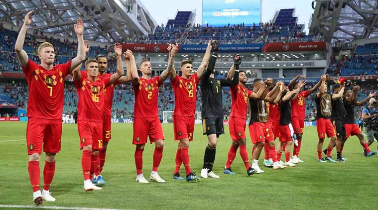 Belgium's team celebrates after winning the group G match between Belgium and Panama at the 2018 soccer World Cup in the Fisht Stadium in Sochi, Russia, Monday, June 18