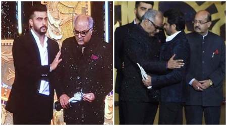 An emotional Boney Kapoor receives Sridevi's IIFA award