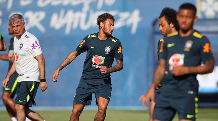 Brazil's Neymar and team mates during traning