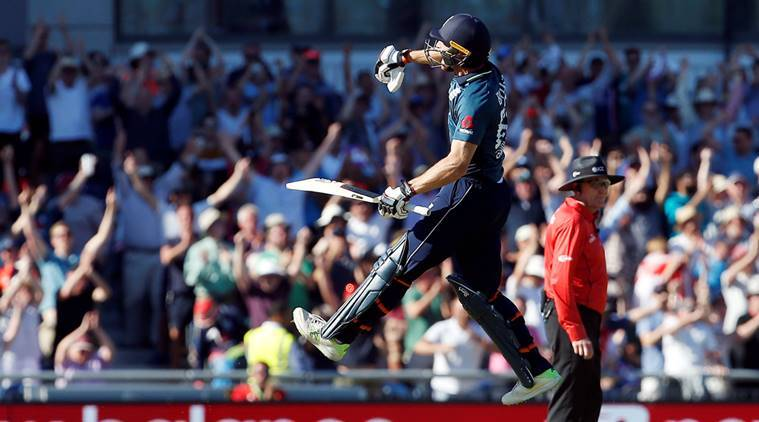 England's Jos Buttler celebrates after winning the match and series against Australia