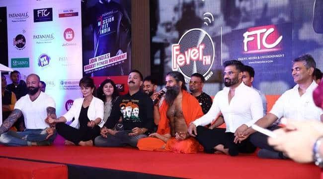 Baba ramdev, suniel shetty, missionfitindia, patanjali, grand master shifuji, fever fm, my fm, rj stuti, ftc, fit india, fitness challenge, indian express, indian express news