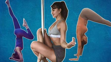 international yoga day, shilpa shetty yoga day, malaika arora yoga day, jacqueline fernandez yoga day, nargis fakhri yoga day, aerial yoga, pole yoga, Bollywood yoga, indian express, indian express news
