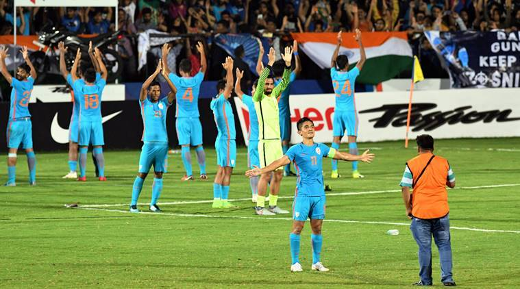 India's football player Sunil Chhetri with teammates celebrates their win over Kenya at the Hero Intercontinental Cup final match