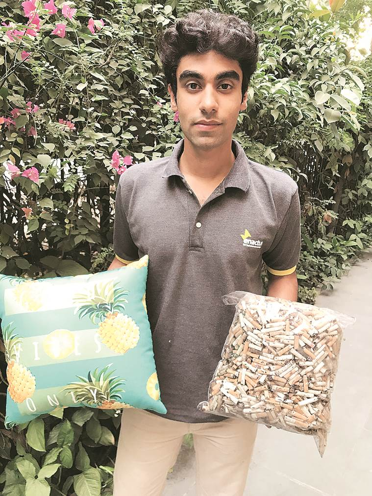 DU college society turns cigarette butts into cushions