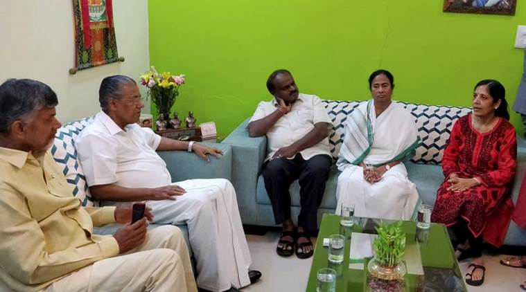 West Bengal Chief Minister Mamata Banerjee (second from right), Karnataka CM H D Kumaraswamy (third from right), Kerala CM Pinarayi Vijayan (second from left) and Andhra Pradesh CM N Chandrababu Naidu (left) during a meeting with wife of Delhi Chief Minister Arvind Kejriwal, Sunita, at her residence.
