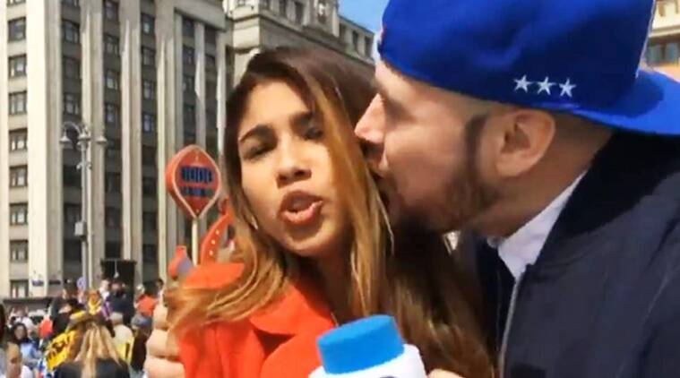 woman journalist kissed at FIFA, colombian journalist groped and kissed, FIFA colombian journalist kissed and groped, fan kisses and gropes colombian journalist FIFA video, Indian express, Indian express news