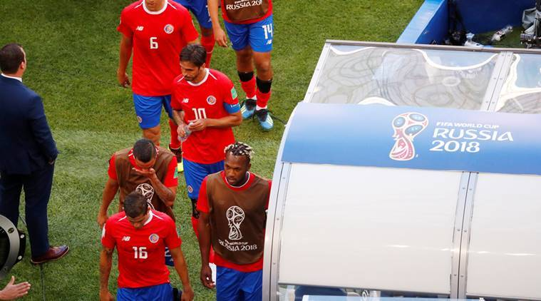 Costa Rica's players look dejected after the match