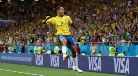Brazil's Philippe Coutinho celebrates scoring their first goal