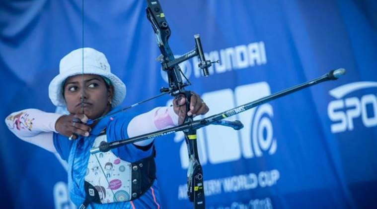 Deepika Kumari in action in the final of the Archery World Cup in Salt Lake